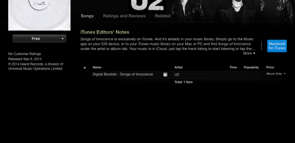 Apple gives away U2's Songs of Innocence for 2 months